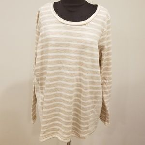 NWT! Alexander Jordan Khaki/Cream Striped Top